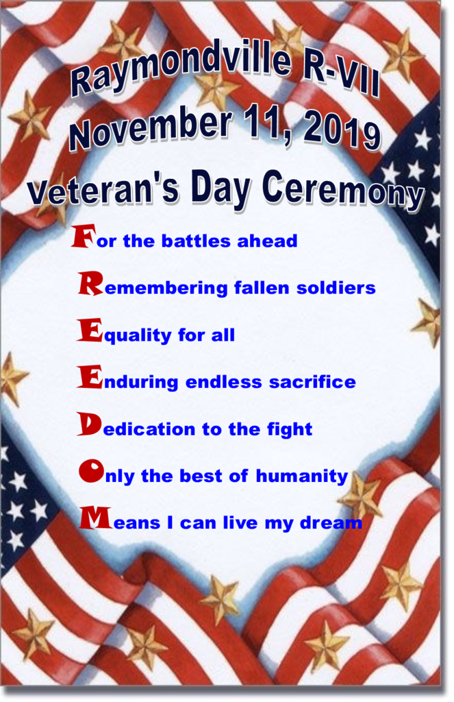 Veteran's Day Program cover with  poem