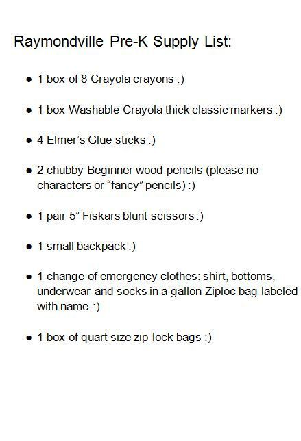 PK School Supply List 20-21
